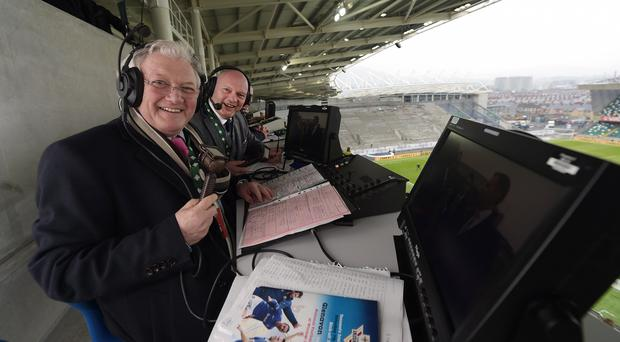 Jackie Fullerton prepares for his last cup final television football commentary alongside David Jeffrey. Pic Pacemaker