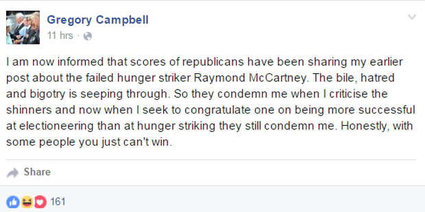 Screengrab of Gregory Campbell's Facebook comments.