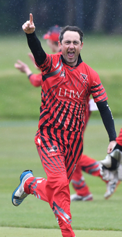 Get in: YMCA's Tom Fisher takes a second wicket in the Irish Senior Cup win over North Down at The Green