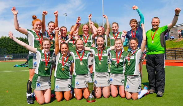 Champions: Randalstown celebrate doing the double after winning the President's Cup final against Queen's at Stormont