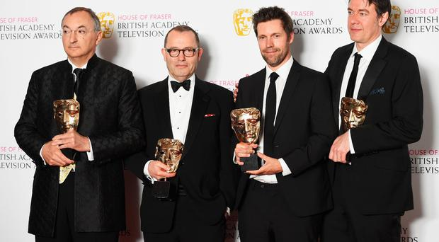 Peter Kosminsky, Colin Callender, Mark Pybus and Peter Straughan, accepting the Best Drama award for 'Wolf Hall', pose in the Winners room at the House Of Fraser British Academy Television Awards 2016 at the Royal Festival Hall on May 8, 2016 in London, England. (Photo by Stuart C. Wilson/Getty Images)