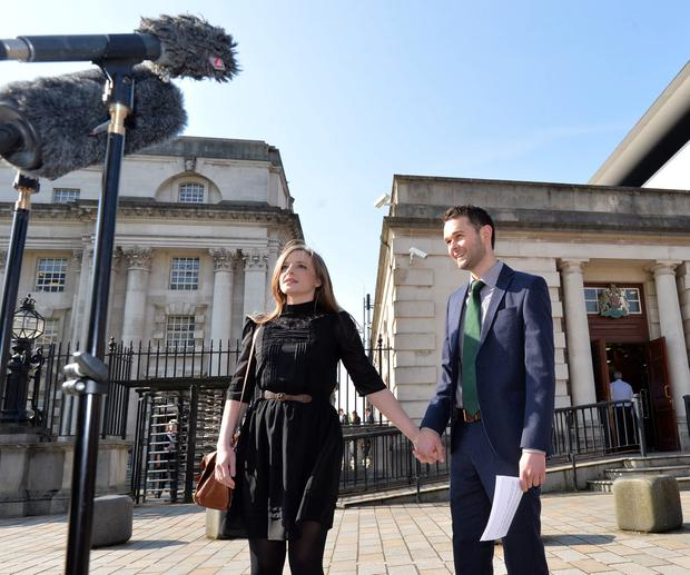 PACEMAKER BELFAST 09/05/2016 Daniel McArthur and his Wife Amy at Belfast High Court on Monday, The Christian owners of Ashers Bakery, the McArthur family, are seeking to appeal a ruling that found they acted unlawfully by refusing to bake a cake with a Slogan supporting gay marriage in May 2014. PHOTO Colm Lenaghan/Pacemaker