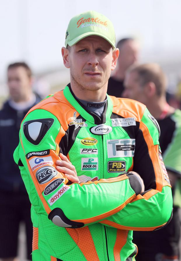 Ben Wilson ready for the off at the opening practice session for the Vauxhall International North West 200 grid. Picture by Stephen Davison