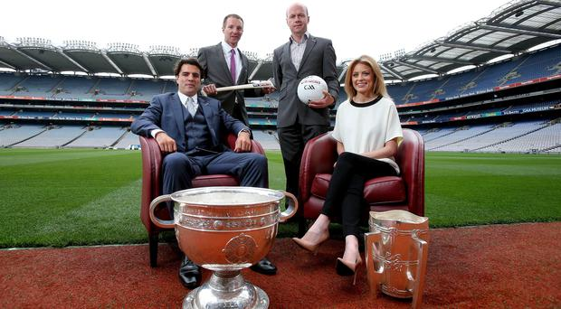 Team Sky: Sky presenters Brian Carney and Rachel Wyse, along with hurling analyst Jamesie O'Connor and football analyst Peter Canavan currently show live GAA action
