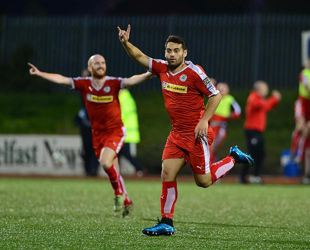 Cliftonville's David McDaid pictured after scoring his teams 3rd goal during this evenings game at Solitude in Belfast. Picture By: Arthur Allison/Pacemaker Press