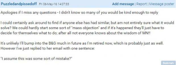 The wedding guest's response following over 1,000 posts in reply to her question (Mumsnet)