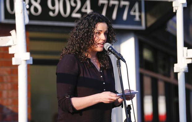 Gemma Weir at A protest rally against recent murders, attempted murders and maimings was be held at the shopping complex on the Grosvenor Road at 7.30pm on Wednesday May 11, 2016 Belfast , Northern Ireland ( Photo by Kevin Scott / Presseye )