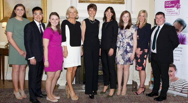 Danielle McGriskin (far left and below) with cancer survivors, Samantha Cameron and members of CLIC Sargent
