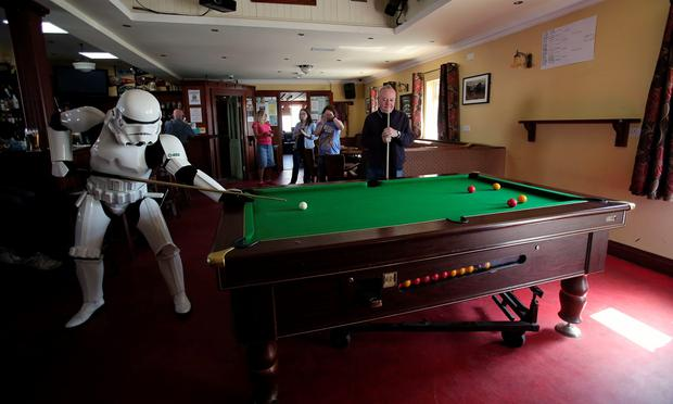 JJ McGettigan from the Emerald Garrison, a star Wars costuming club, in Farrens Bar in Malin Head, Co Donegal Ireland, as filming for the next Star Wars movie will take place there. PA