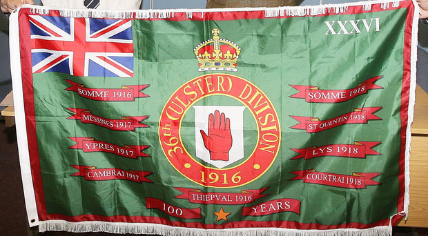 The new flag commemorating the 36th Ulster Division's role at the Somme and other battles