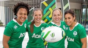 Having a ball: Ireland duo Claire McLaughlin and Niamh Briggs show off the World Cup ball