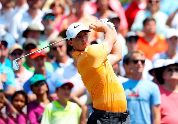 Level pegging: Rory McIlroy on his way to a level par 72 at Sawgrass