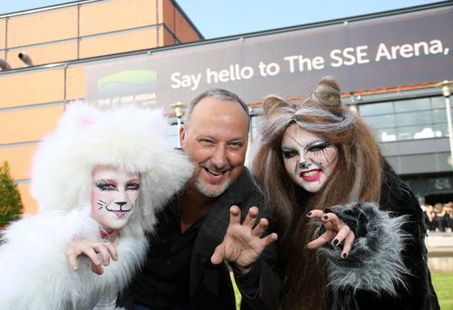 Purr-fect partners for special youth production of CATS at SSE Areana, pictured is show director Peter Corry with Eva-Rose McGall and Blathnaid McCaughley. 12 May 2016 - Picture by Darren Kidd / Press Eye.