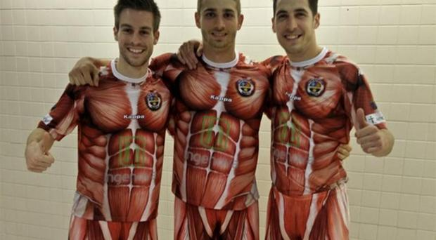 CD Palencia kit: The design is intended to show how willing the club's players are to 'give their skin'