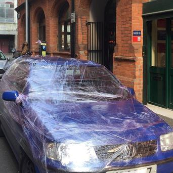 'Nothing like a chef's practical joke' Niall McKenna's car.