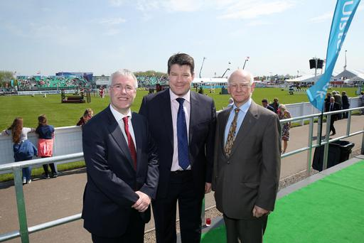 Richard Donnan, left, Ulster Bank Head of Northern Ireland at the Ulster Bank lunch at the Balmoral Show main marquee with Neal Kelly, centre, Director of Fresh Foods at Henderson Group, the speaker at the event, and Sir Howard Davies, Chairman of Ulster Bank's parent company, RBS.