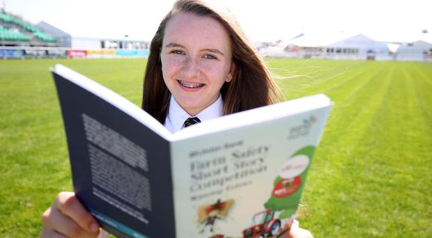 Pictured with the first book off the production line is Madison Rafferty of Down High School who created one off the winning stories in the Ulster Bank farm safety competition.