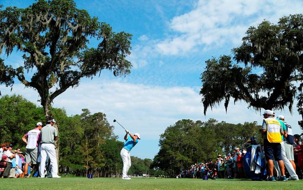 Rory McIlroy of Northern Ireland plays his shot from the 15th tee during the second round of THE PLAYERS Championship at the TPC Stadium course on May 13, 2016 in Ponte Vedra Beach, Florida. (Photo by Richard Heathcote/Getty Images)