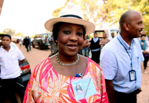 (FILES) This file photo taken on October 25, 2013 shows Fatma Samoura arriving to inspect a polling station in Antananarivo during the presidential elections. AFP/Getty Images