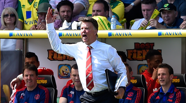 Under pressure: Louis van Gaal says it's frustrating the fate of a top four finish is out of Manchester United's hands