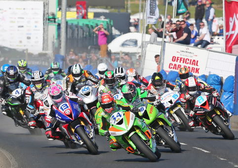 Red hot: Alastair Seeley leads at the start of Thursday's Supersport race