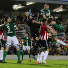 Rising highest: Cork City's Kenny Browne heads home Cork Ciy's late winner