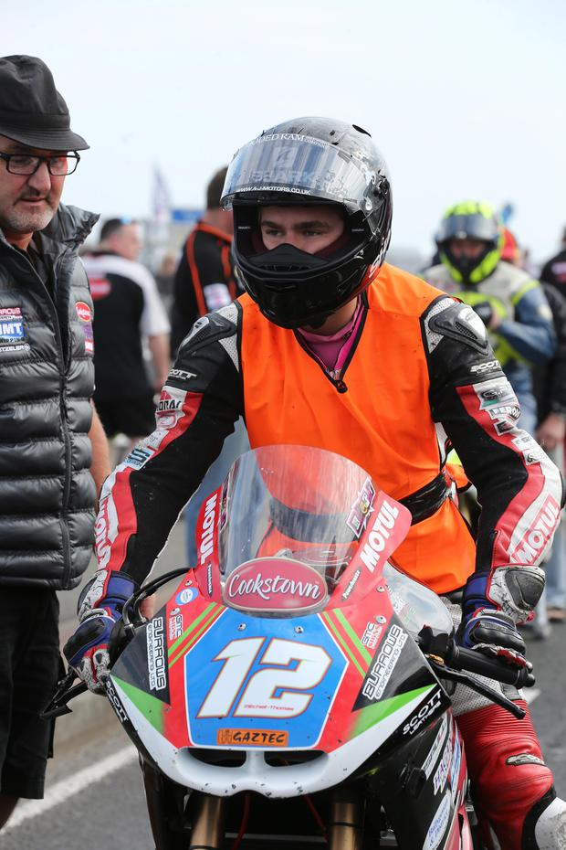 PACEMAKER BELFAST 14/05/2016 Malachi Mitchell Thomas who crashed during the supertwins race at the North West 200 today 14/05/2015 Malachi Mitchell-Thomas was killed today in a crash during the supertwins race at the North West 200. Racing was abandoned as a result of the crash. He is pictured on the grid just before racing began.