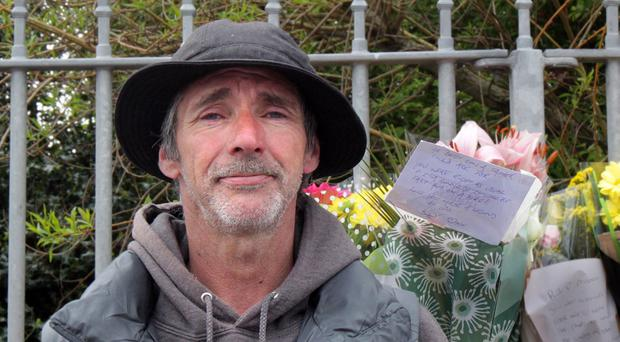 Kevin Thomas, the father of young racing star Malachi Mitchell Thomas, at the spot where his son died on Saturday close to Black Hill on the circuit. Picture Margaret McLaughlin