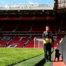 All clear: a member of security staff with a sniffer dog patrols Old Trafford after he stadium was evacuated prior to Manchester United's match with Bournemouth