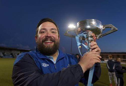 Ards Rangers manager Lee Forsythe with the Border Cup - the first part of their 2014/15 league and cup double. But could he be lifting the league trophy again this season?