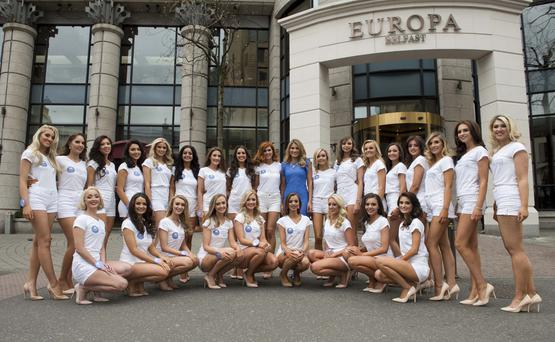 Pacemaker press 16/05/2016 Miss Northern Ireland launch at The Europa hotel in Belfast. All 26 of the Miss NI hopeful's put the finishing touch on their appearance for tonight's Miss NI final at The Europa hotel. Picture Mark Marlow/pacemaker press