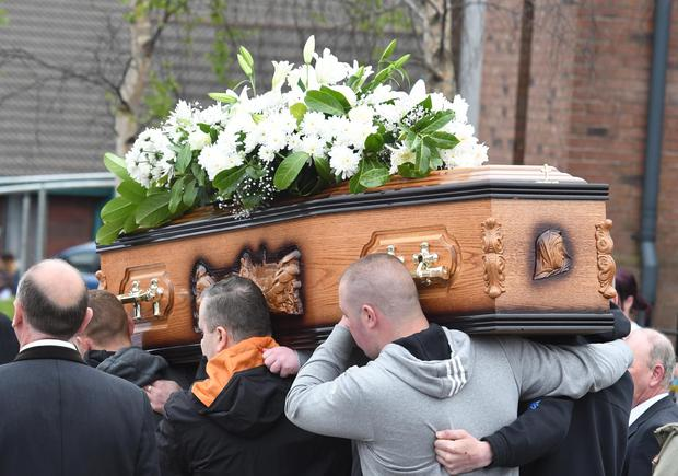 Pacemaker Press 16/5/2016 The Funeral for Dan Murray takes place at Holy Trinity Church in West Belfast. Dan Murray, a takeaway delivery driver, had been taking an order to Lady Street, near Grosvenor Road, when he was shot. Pic Colm Lenaghan/Pacemaker