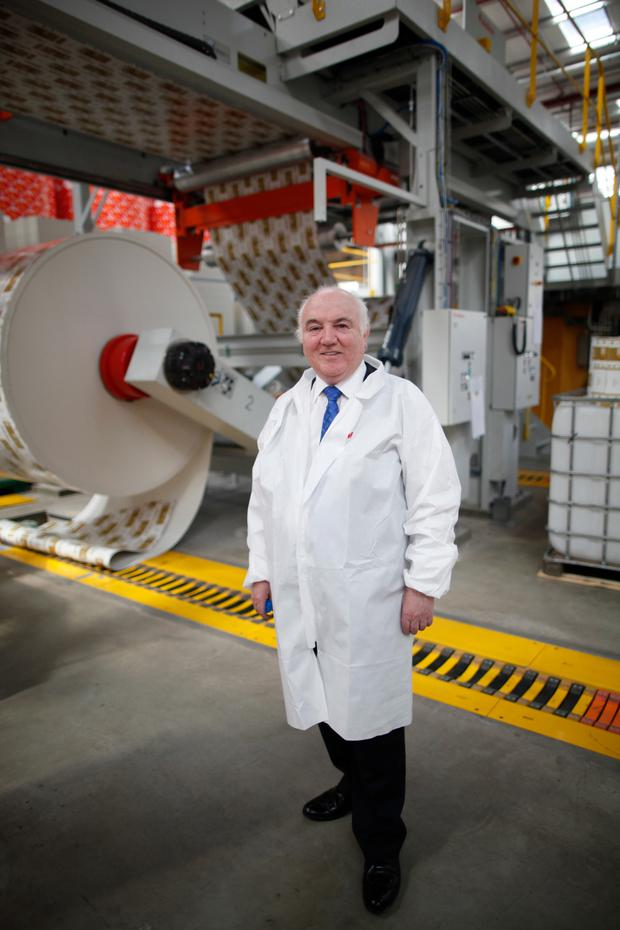 Founder Terry Cross at Delta Print and Packaging factory at Kennedy Way, west Belfast, which employs around 260 staff, with a further 65 at a factory in Poland