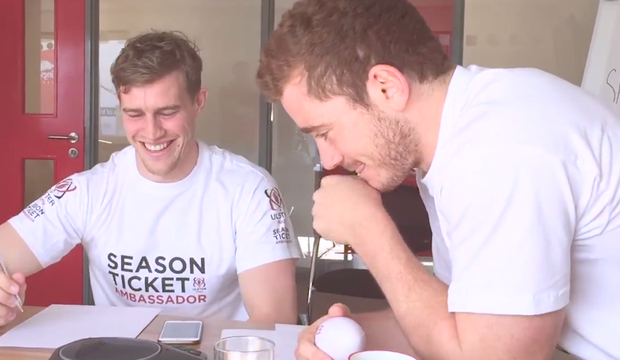 Paddy Jackson and Andrew Trimble prank Ulster Rugby head coach Les Kiss.