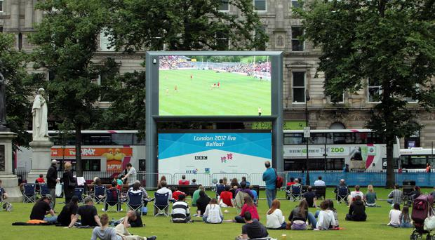 The Big Screen in the grounds of Belfast City Hall