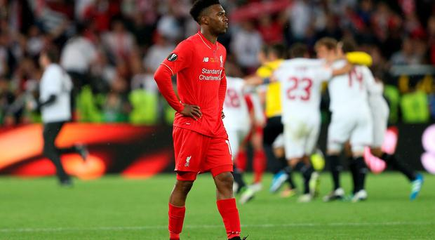 Liverpool's Daniel Sturridge looks dejected after the final whistle during the UEFA Europa League Final at St. Jakob-Park, Basel, Switzerland.David Davies/PA Wire.