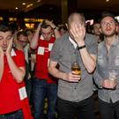Dejected Liverpool fans watch on at The Bot as Sevilla win the Europa League Final. Wednesday 18th May 2016. Picture by Liam McBurney/RAZORPIX