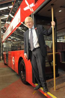 Former London mayor Boris Johnson on a visit to Wrightbus plant
