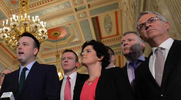SDLP Leader Colum Eastwood with his Party colleagues, announces that the party will go into opposition