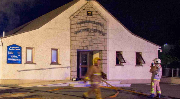 Firefighters at the Rathfriland Baptist Church last night