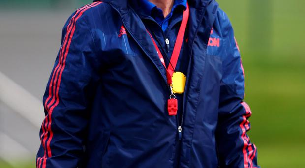 Trophy hunt: Louis van Gaal takes training yesterday believing his Manchester United side will be given a new lease of life by the capture of silverware