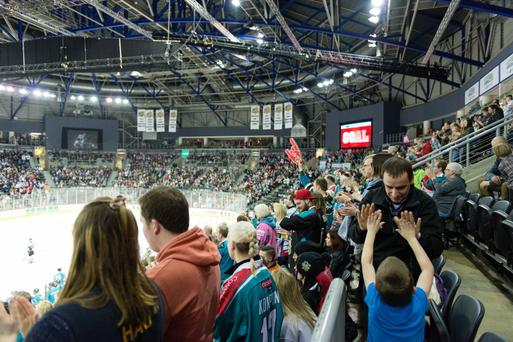 Fans watch the Belfast Giants at the SSE Arena