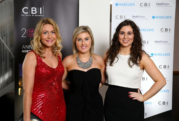 Press Eye - Belfast - Northern Ireland - 19th May 2016 - Photo by William Cherry Holly Lyons, Nicki McConnell and Samantha Moore pictured at Thursday nights CBI Annual Dinner at the Waterfront Hall, Belfast.
