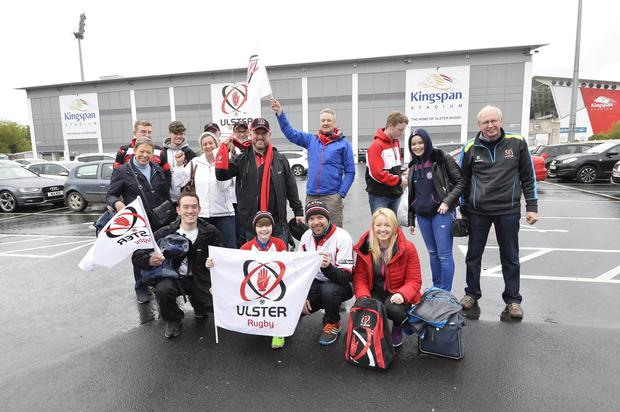 Ulster rugby fans pictured at the Kingspan Stadium in Belfast ahead of tonights Guinness PRO12 semi final match against Leinster. Pic Stephen Hamilton