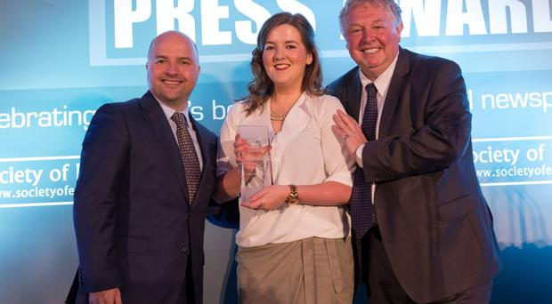 Belfast Telegraph Digital Journalist Claire Williamson accepts the award for News Website of year at the Regional Press Awards in London.