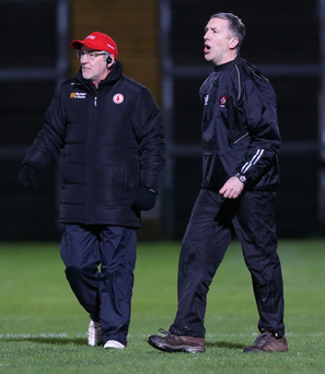 Ready for battle: Tyrone boss Mickey Harte and Derry counterpart Damian Barton will call the shots in the Ulster quarter-final