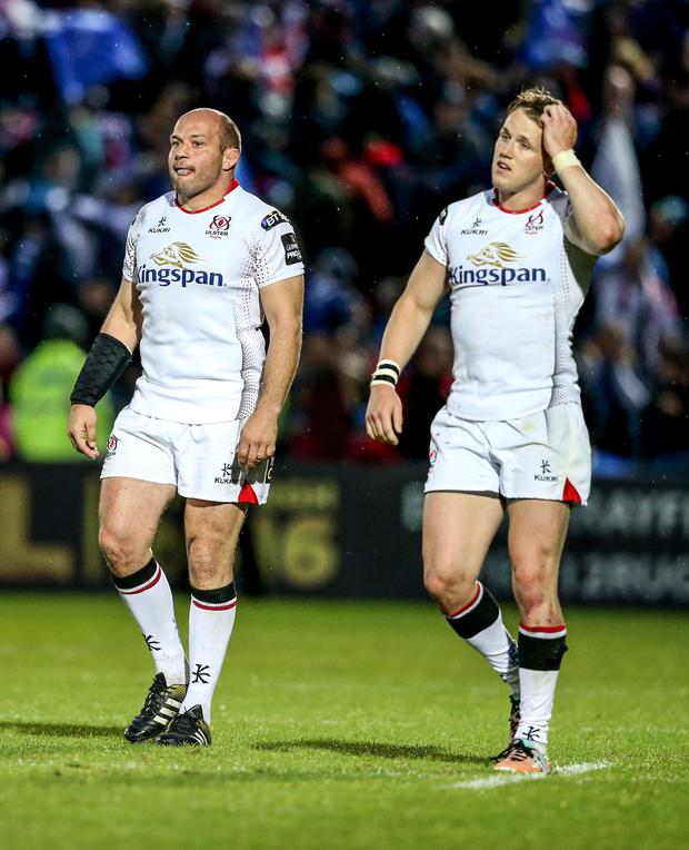 All over: Rory Best (left) and Craig Gilroy cut dejected figures after Ulster's Pro12 semi-final loss to Leinster in Dublin