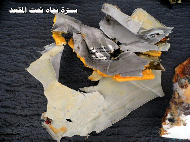 Undated handout photo taken from the Facebook page of Egyptian Armed Forces showing debris that has been recovered from EgyptAir flight 804 that went down in the Mediterranean Sea early on Thursday. PA