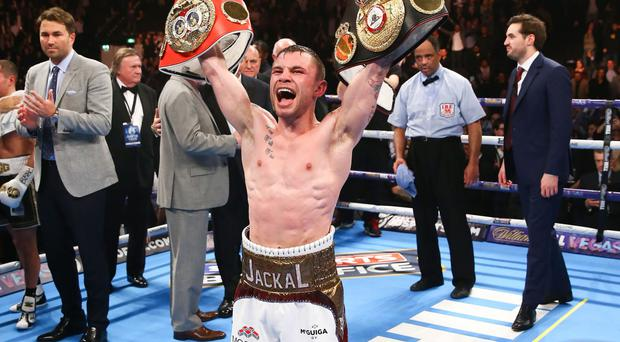 Carl Frampton celebrates defeating Scott Quigg