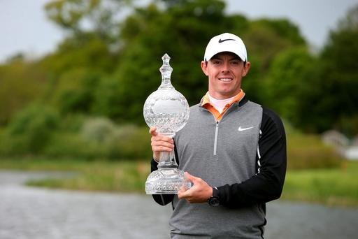 Northern Ireland's Rory McIlroy with the trophy after winning the Irish Open at The K Club, County Kildare. Photo credit should read: Brian Lawless/PA Wire.